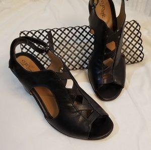 Euro Soft by Sofft Black Adjustable Strap Heels